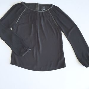 greylin • black faux leather  button accent blouse